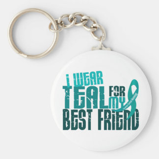 I Wear Teal For My Best Friend 6.4 Ovarian Cancer Keychain