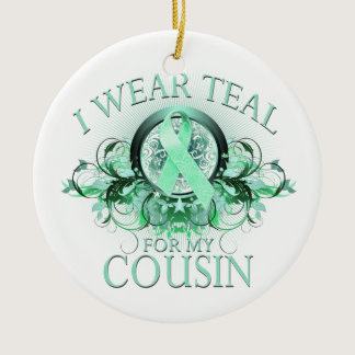 I Wear Teal for my Cousin (floral).png Ceramic Ornament