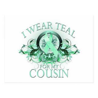 I Wear Teal for my Cousin (floral).png Postcard