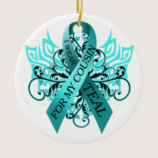 I Wear Teal for my Cousin.png Ceramic Ornament