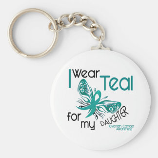 I Wear Teal For My Daughter 45 Ovarian Cancer Keychain