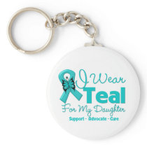 I Wear Teal For My Daughter Basic Round Button Keychain