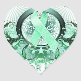 I Wear Teal for my Daughter (floral).png Heart Sticker