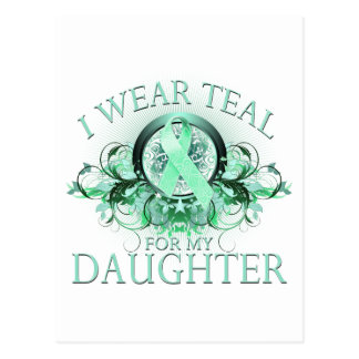 I Wear Teal for my Daughter (floral).png Postcard