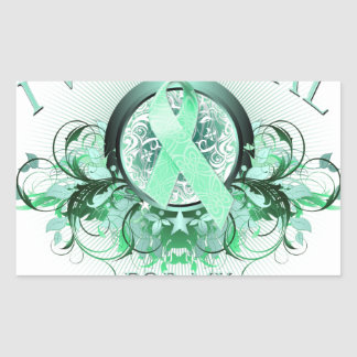 I Wear Teal for my Daughter (floral).png Rectangular Sticker