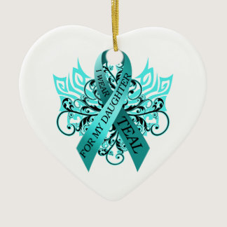 I Wear Teal for my Daughter.png Ceramic Ornament