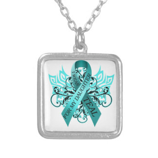 I Wear Teal for my Daughter.png Silver Plated Necklace