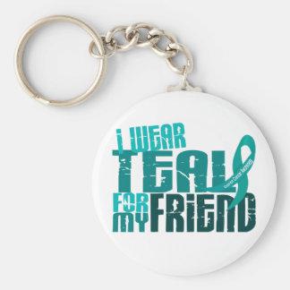 I Wear Teal For My Friend 6.4 Ovarian Cancer Basic Round Button Keychain