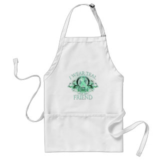 I Wear Teal for my Friend (floral).png Adult Apron