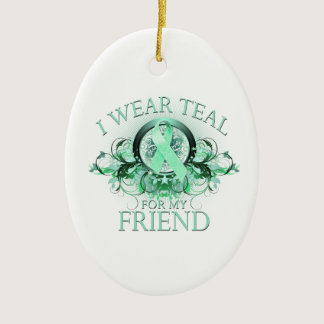 I Wear Teal for my Friend (floral).png Ceramic Ornament