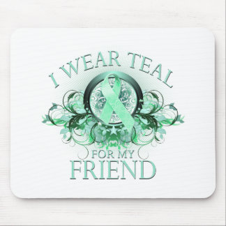 I Wear Teal for my Friend (floral).png Mouse Pad