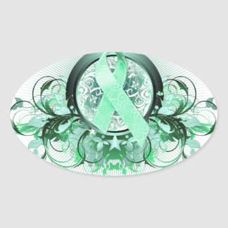 I Wear Teal for my Friend (floral).png Oval Sticker