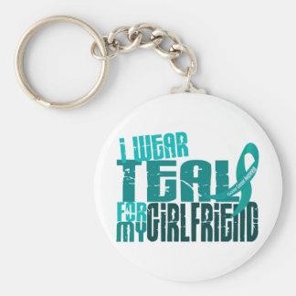 I Wear Teal For My Girlfriend 6.4 Ovarian Cancer Keychain