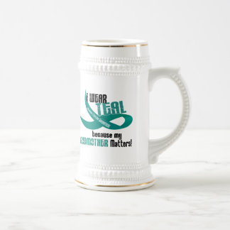 I Wear Teal For My Godmother 33 T-Shirts & Gifts 18 Oz Beer Stein