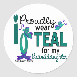I Wear Teal For My Granddaughter 27 Ovarian Cancer Stickers
