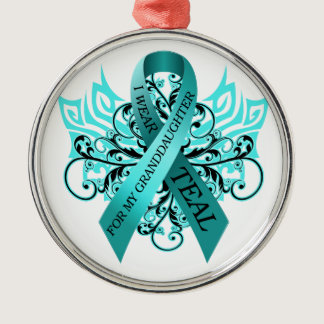I Wear Teal for my Granddaughter.png Metal Ornament