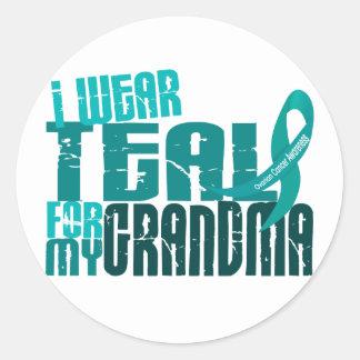 I Wear Teal For My Grandma 6.4 Ovarian Cancer Classic Round Sticker