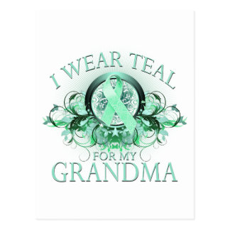 I Wear Teal for my Grandma (floral).png Postcard