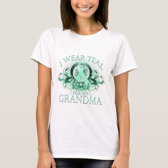 I Wear Teal for my Grandma (floral).png T-Shirt