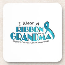 I Wear Teal For My Grandma Ovarian Cancer Awarenes Beverage Coaster