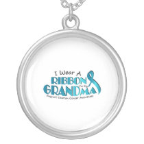 I Wear Teal For My Grandma Ovarian Cancer Awarenes Silver Plated Necklace