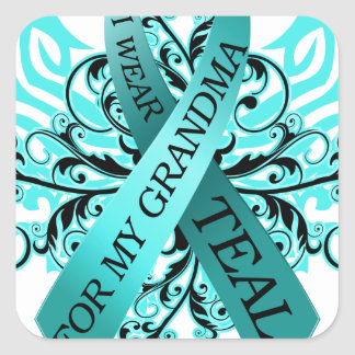 I Wear Teal for my Grandma.png Square Sticker