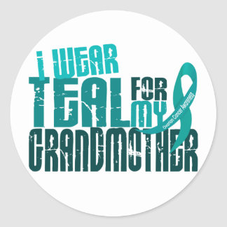 I Wear Teal For My Grandmother 6.4 Ovarian Cancer Classic Round Sticker