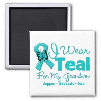 I Wear Teal For My Grandson 2 Inch Square Magnet