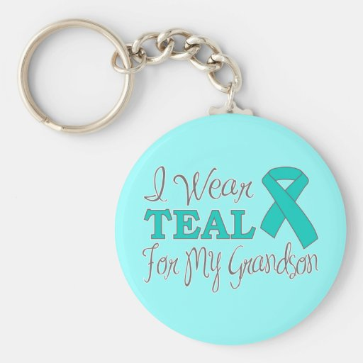I Wear Teal For My Grandson (Teal Ribbon) Key Chain