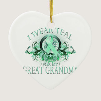 I Wear Teal for my Great Grandma (floral).png Ceramic Ornament