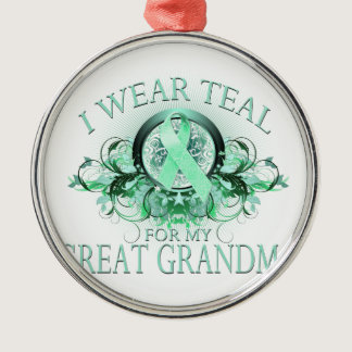 I Wear Teal for my Great Grandma (floral).png Metal Ornament