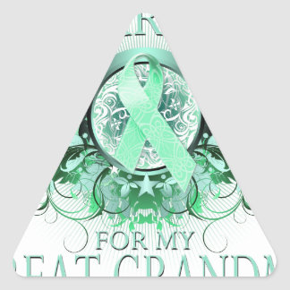 I Wear Teal for my Great Grandma (floral).png Triangle Sticker