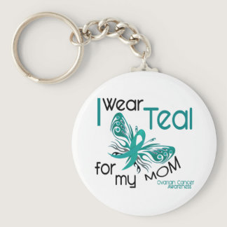 I Wear Teal For My Mom 45 Ovarian Cancer Keychain