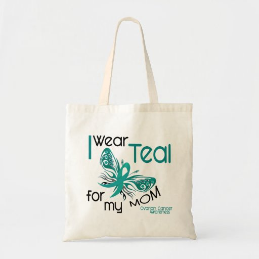 I Wear Teal For My Mom 45 Ovarian Cancer Tote Bag