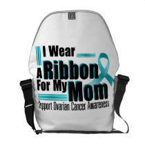 I Wear Teal For My Mom Ovarian Cancer Awareness Courier Bag