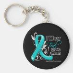 I Wear Teal For My Mom - Ovarian Cancer Keychains