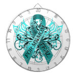 I Wear Teal for my Mom.png Dartboard With Darts
