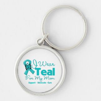 I Wear Teal For My Mom Silver-Colored Round Keychain