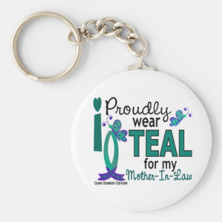 I Wear Teal For My Mother-In-Law 27 Ovarian Cancer Keychains