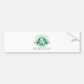 I Wear Teal for my Mother In Law (floral).png Car Bumper Sticker