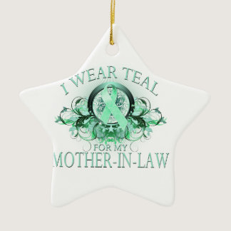 I Wear Teal for my Mother In Law (floral).png Ceramic Ornament