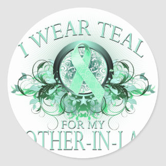 I Wear Teal for my Mother In Law (floral).png Classic Round Sticker