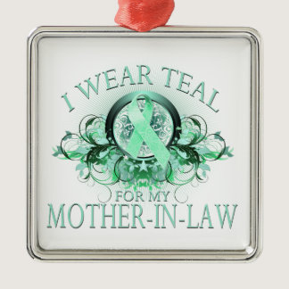 I Wear Teal for my Mother In Law (floral).png Metal Ornament