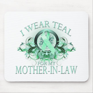 I Wear Teal for my Mother In Law (floral).png Mouse Pad