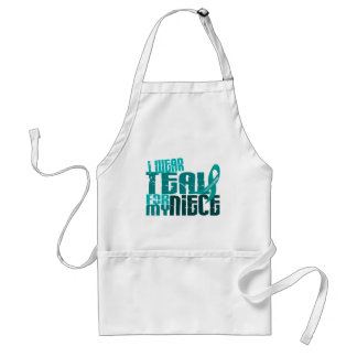 I Wear Teal For My Niece 6.4 Ovarian Cancer Adult Apron