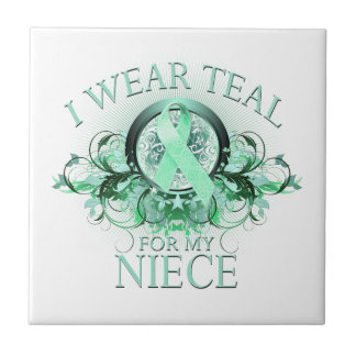 I Wear Teal for my Niece (floral).png Tile