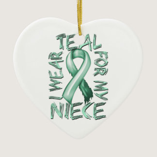 I Wear Teal for my Niece.png Ceramic Ornament
