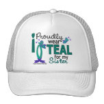 I Wear Teal For My Sister 27 Ovarian Cancer Mesh Hats