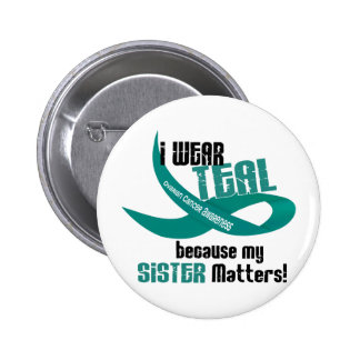 I Wear Teal For My Sister 33 OVARIAN CANCER Tees Pinback Button
