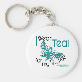I Wear Teal For My Sister 45 Ovarian Cancer Keychain